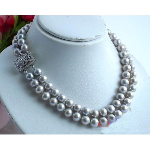 2Row AA 10-11MM Round Gray Freshwater Cultured Pearl Necklace 18-19inchs Fashion Pearl Jewelry New Free Shipping Hot Sale FN1493<br><br>Aliexpress