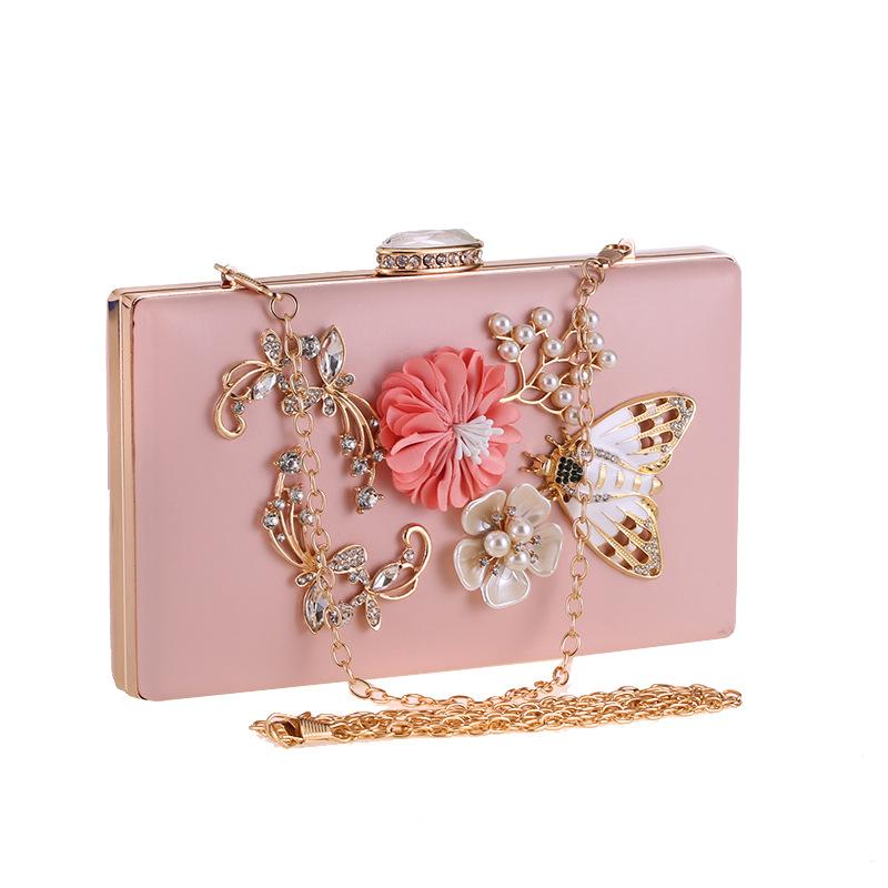 Цветочные женские вечерние сумки с бриллиантами расшитые блестками бусины 7084L-01