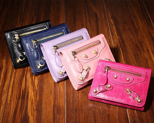 original design High quality brandGenuine leather purse Euramerican female oil wax leather rivet short long style Wallets<br><br>Aliexpress