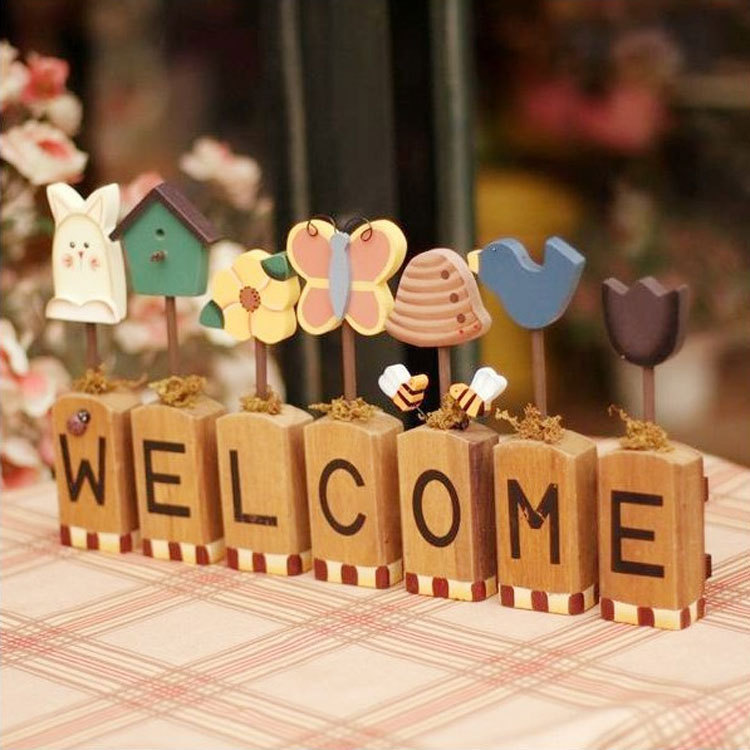 European style wooden doorplate welcome creative board for Welcome home decorations