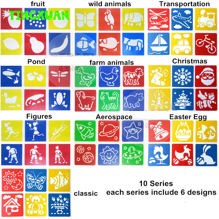 5 packs(30 pieces) Washable Plastic Children's Drawing Template Board Set Toys Kids Painting Stencils Animal Fruit Transport(China (Mainland))