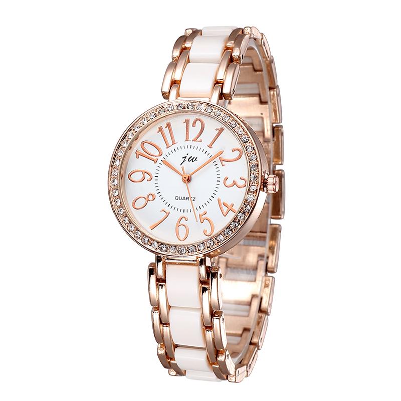 Rose Gold Fashion Ladies Watch Ceramic Band Women Dress Gift Watches Quartz Wristwatch Rhinestones Big Number 2015 New Arrival(China (Mainland))