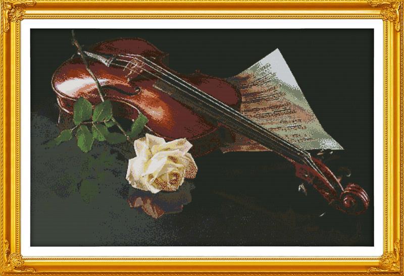 На скрипке и белая роза DMC
