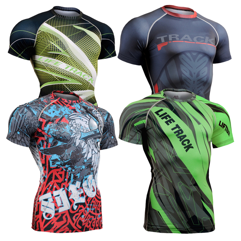 3d Full Printing Mens Compression Shirt Base Layer Short Sleeve Shirt Workout Fitness MMA Gym Running