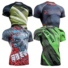 3d Full Printing Mens Compression Shirt Base Layer Short Sleeve Shirt Workout Fitness MMA Gym Running Body Building T-Shirt