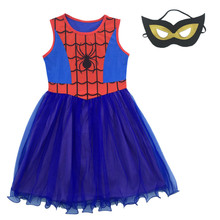 Buy Baby Girl Dress Spider man Cosplay Costumes Children Dress Kid Clothing Princess Halloween Party Clothes Girls Dresses + Mask for $8.34 in AliExpress store
