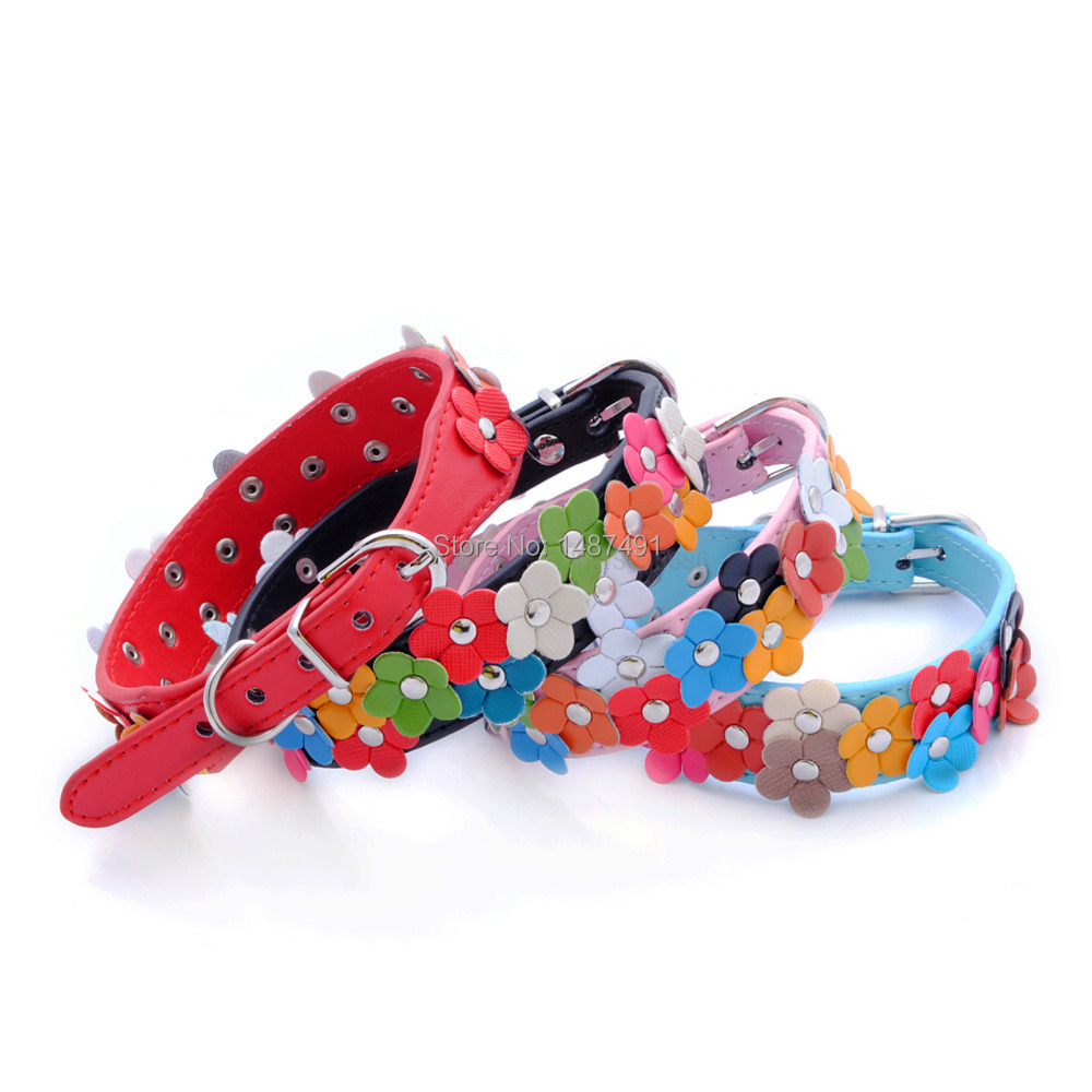 Pet collar pet supplies pu leather small flower dog collar accessories (China (Mainland))