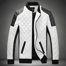 Free Shipping 2015 Men's Slim Eather Jacket Collar Black&White Stitching Masculina Leather Quilted Jacket Male Jacket(China (Mainland))