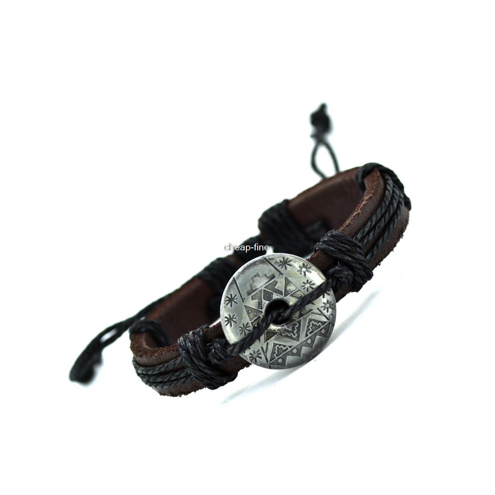 2015 New Genuine Leather Charm Bracelet Cuff Braided Wrap Bracelet & Bangles Fashion For Women Men Gifts(China (Mainland))