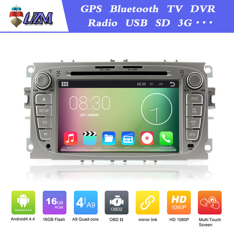 "2din 7"" Pure Android 4.4 Car DVD Navigation for Ford Focus Kuga 2008~2012 Galaxy with GPS 3G Head unit Built in Wifi Radio(China (Mainland))"