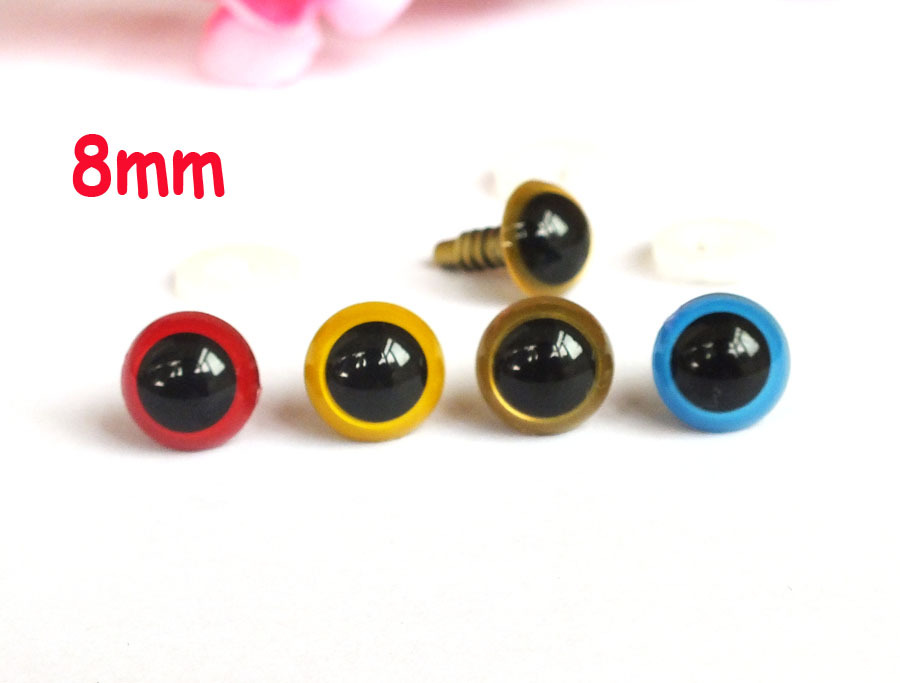 Free Shipping!! 40 PAIRS 8mm Mixed Colors Amigurumi eyes Animal eyes Craft Plastic eyes safety eyes(China (Mainland))