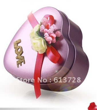 exquisite and graceful heart shaped candy tin box,gift box ,#CB082 ,wedding favors, assembled delivery, free shipping(China (Mainland))