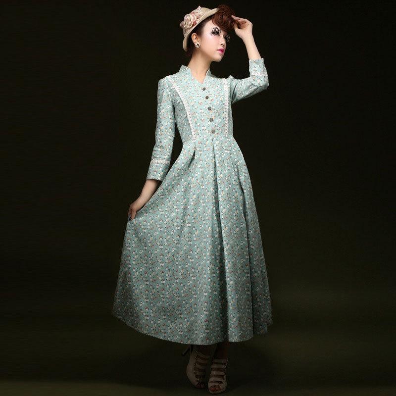 Twods 2015 new sweet floral print maxi dress women's bohemian linen long dress slim design v-neck Holiday dress