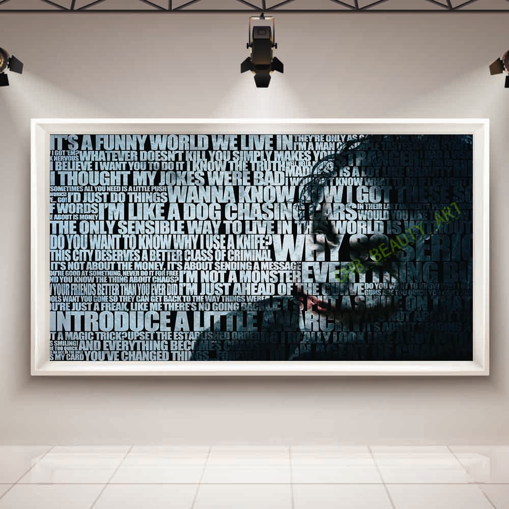 Large modern joker movie poster oil painting on canvas home decoration wall picture for living room canvas art(China (Mainland))