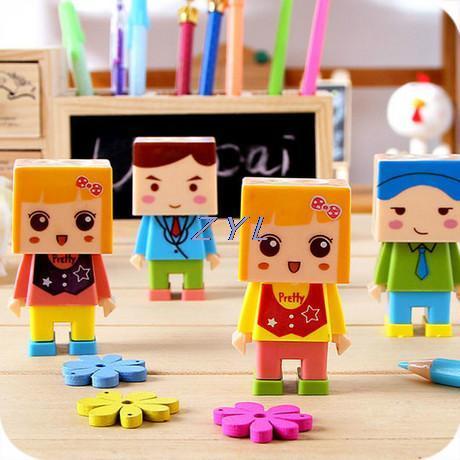 C101 cute cartoon villain creative DIY assembly holes pencil sharpener with eraser(China (Mainland))
