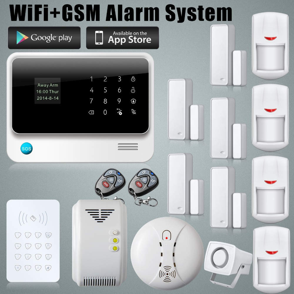 2.4G WiFi Alarm System GSM GPRS SMS Home Security Alarm System Control IOS ANDROID APP Control Kit RFID Keypad PIT Door Sensors(China (Mainland))