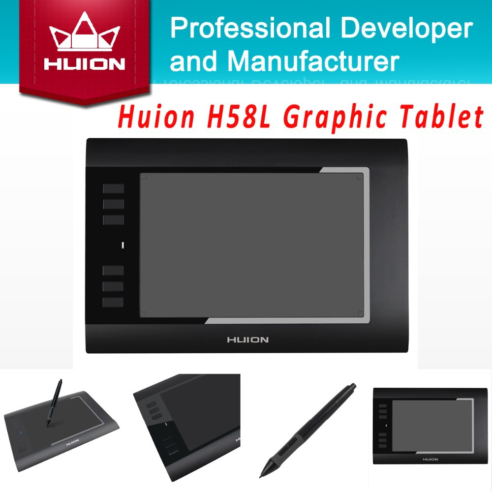 "Hot Sale Huion H58L 8'' x 5"" 2048 Levels Digital Pen Tablets Graphic Painting Tablet Black USB Professional Kids Drawing Tablets(China (Mainland))"