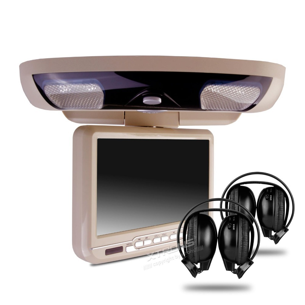 "XTRONS Beige 9"" HD Screen Car MPV Roof Mount Flip Down DVD Player USB Game Disc+2 Headsets(China (Mainland))"
