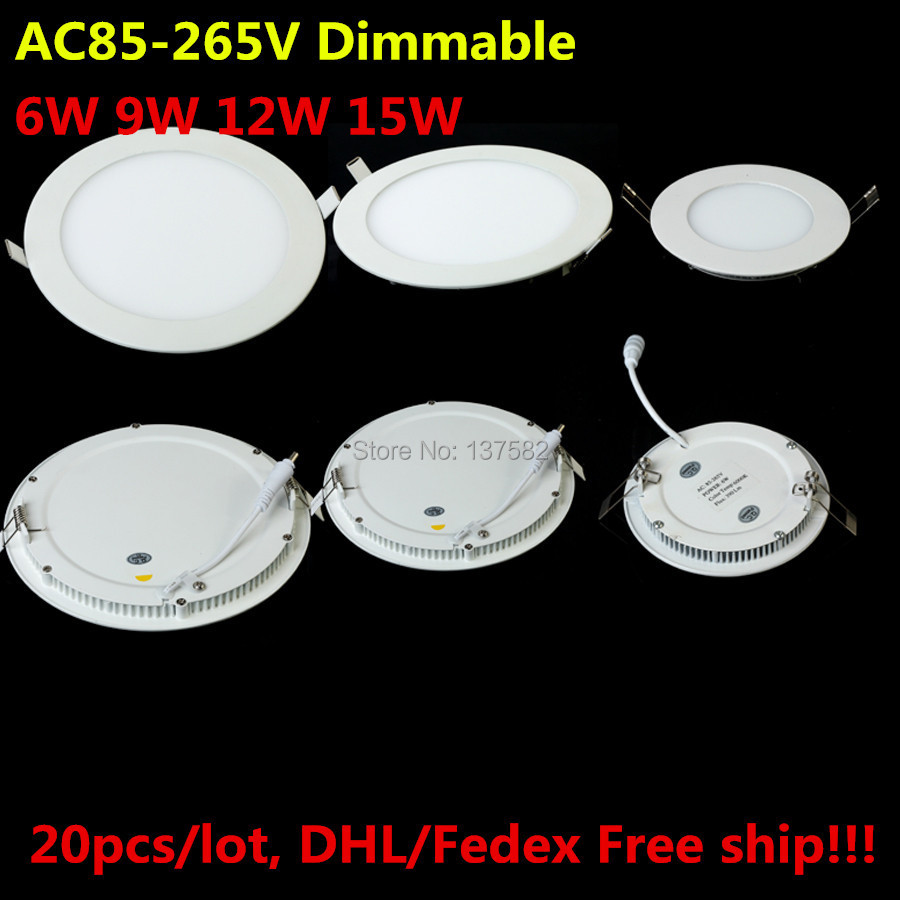 Dimmable LED Ceiling Downlight 6W 9W 12W 15W recessed led panel light with driver AC85-265V Warm White/Cold White DHL/Fedex Free(China (Mainland))