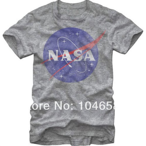 design men t shirt NASA Logo Distressed Men's Heather T-Shirt with short sleeved 100%cotton casual family tshirt plus size tees'(China (Mainland))