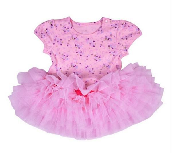 flower girls pink dress children dot printing patchwork lace princess dresses baby girl party kids clothing JL-1549