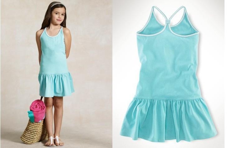 Free Shipping girls polo dresses 2014 summer kids Princess tennis One-piece black Dresses baby 100% cotton basic tank dress(China (Mainland))