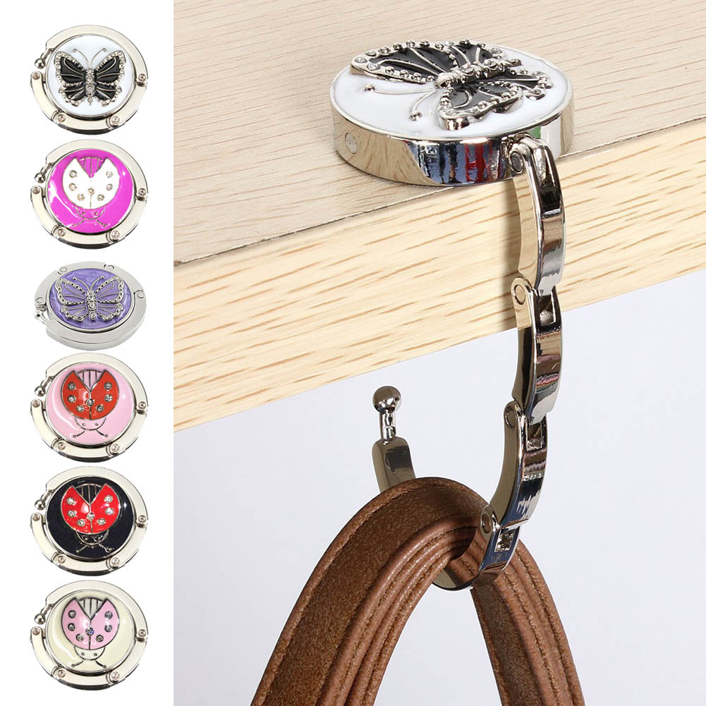 Useful Foldable Metal Butterfly Purse Bag Hanger Handbag Table Hook(China (Mainland))