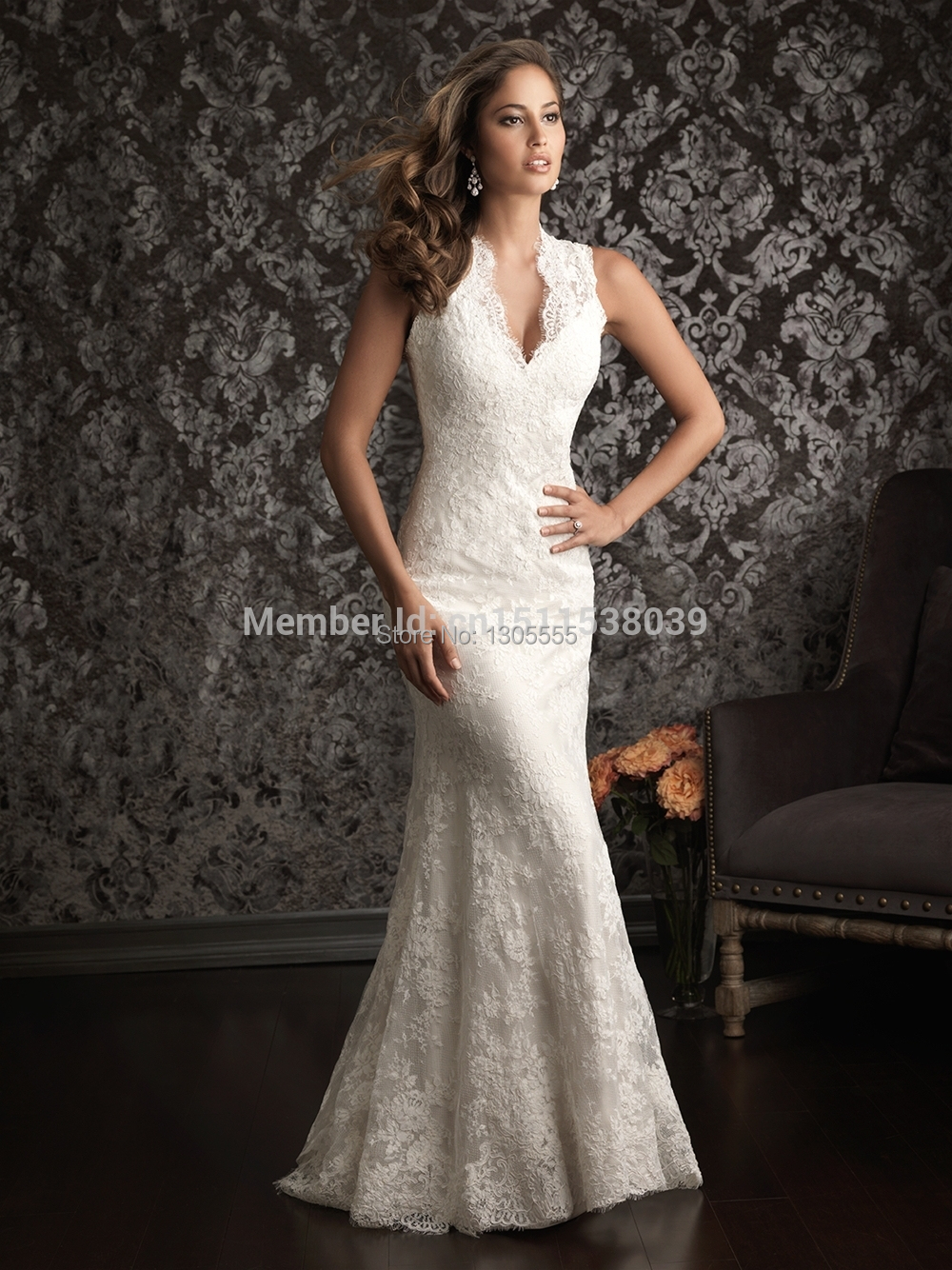 custom made 2014 sexy lace mermaid wedding dresses deep v