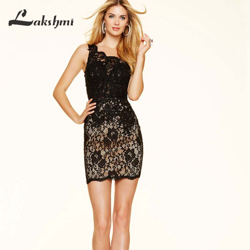 Simple One Shoulder Red Lace Cocktail Dresses Little Black Dress Short Wedding Party Gowns(China (Mainland))