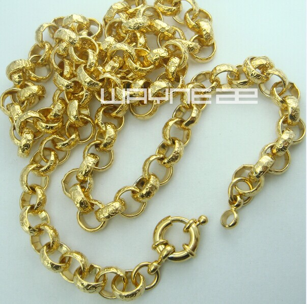 18k gold Filled belcher bolt Link mens womens solid necklace jewelry N220(China (Mainland))