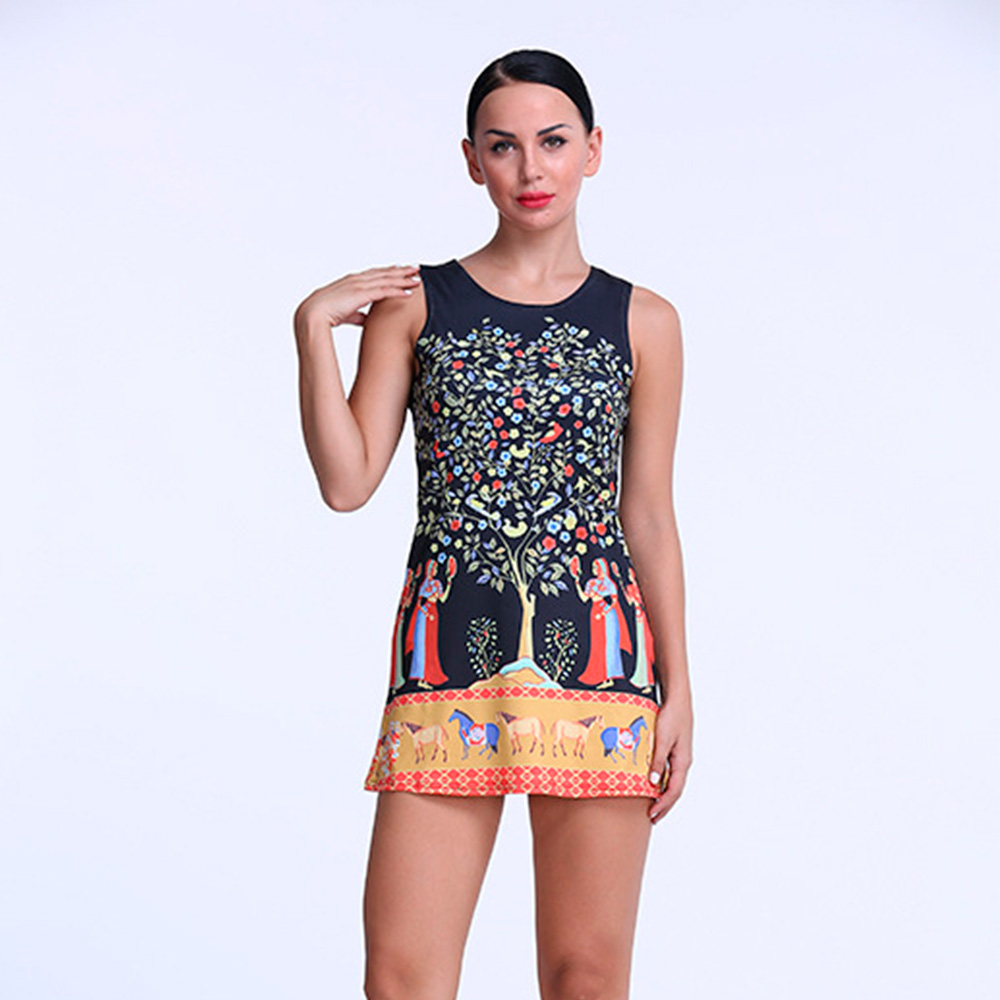 2016 New Fashion Summer Dress Women Hope Tree Printed O Neck Sleeveless Sexy Short Dresses