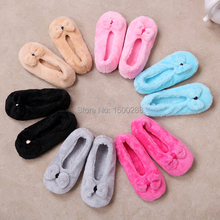 free shipping 2016 Hot Selling Lovely Big BowKnot Warm Soft Sole Women Indoor Floor Slippers/Shoes Bow Tie Flannel Home Slippers(China (Mainland))
