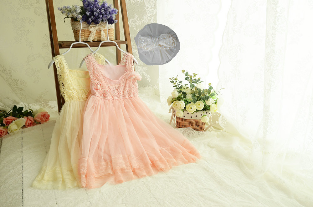 High Quality Cotton Girls flowers dresses 5pcs/Lot Children Crochet Lace Gauze Wedding Dress size 90-150cm Pearl Brooch(China (Mainland))