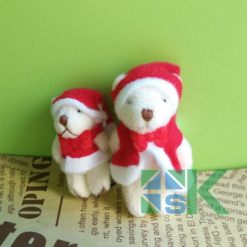 100 pcs/lot Free shipping 4cm lovely Tinny Christmas Teddy bear for your children gift, wedding gifts, Keychain(China (Mainland))