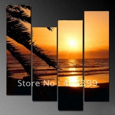 Framed Sescape Oil Painting On Canvas ,Huge Framed Sunset  and Palm Tree Painting   JYJZ114