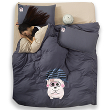 2016 #0019 home decoration textile cotton 3-4pcs Mcdull cartoon printed bedding set bed sheet cover(China (Mainland))