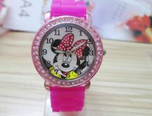 fashion minnie mouse girls Ladies women crystal Watch kids children cartoon silicone sport watches 1pcs/lot(China (Mainland))