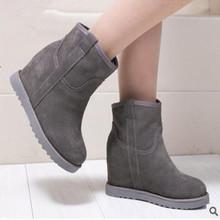 Nueva fábrica al por mayor de invierno de cañón corto de cuero mate pendiente caliente con el aumento de botas de nieve de las mujeres botas cortas zapatos de las mujeres(China (Mainland))