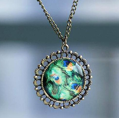 Free Shipping accessories Punk vintage cutout peacock feather engraved gem necklace circle round pendant women new style female(China (Mainland))