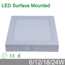 No cut ceiling 6W 12W 18W surface mounted LED ceiling lamp 4000K square LED panel downlights for bathroom  lighting AC85-265V(China (Mainland))