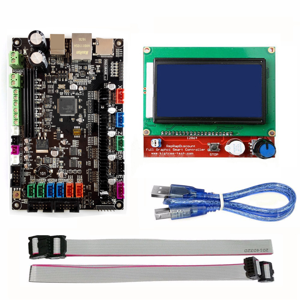MKS SBASE V1.3 32bit Arm platform Smooth control board MCU-LPC1768 with MKS 12864 LCD Display Blue Screen Module(China (Mainland))