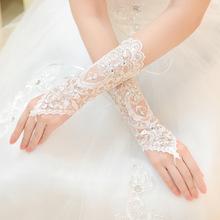 2015 Hot pas cher blanc ivoire mitaines dentelle strass paillettes courte de mariée gants de mariage accessoires de mariage(China (Mainland))