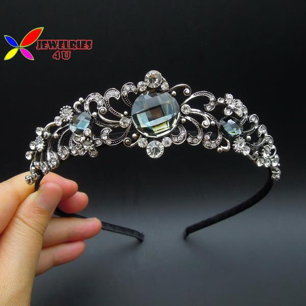 2015 fashion brand designer luxury sparkled crystal faux stone wedding crown headbands for women hair accessories jewelry tiaras(China (Mainland))