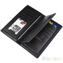 Luxury Fashion Men Long Business PU Leather Clutch Wallet Credit Cards Holder Pockets Purse Black Coffee