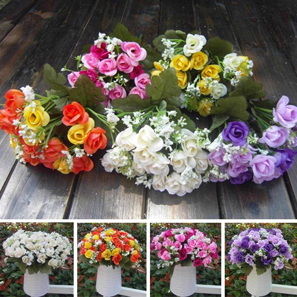 Home Decoration Artificial Rose Silk Flowers 15 Flower Head Leaf Wedding Bridal Hydrangea Decor DIY(China (Mainland))