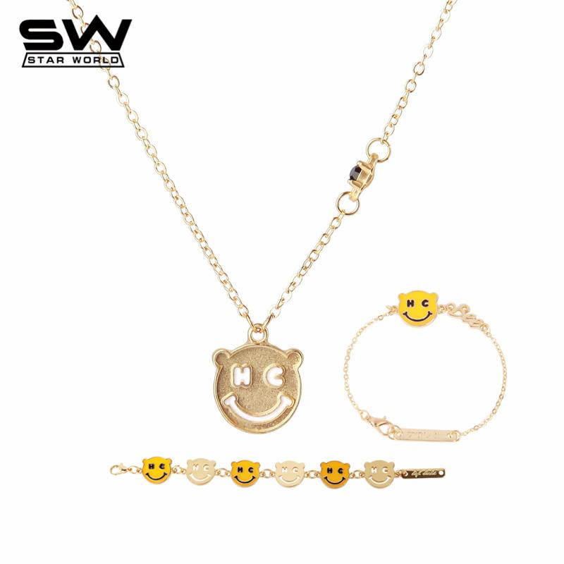 STARWORLD Hot Korea Smiling Face Pendant Necklace/Bracelet Jewelry Set Cute Bear Gold Plated Jewelry Set Women Gift X115(China (Mainland))