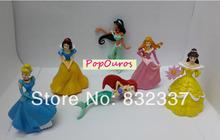 New Arrival High Quality PVC flower pretty woman Mermaid Princess Cinderella Cartoon Figures 6pcs/set Beautiful Girl Toys
