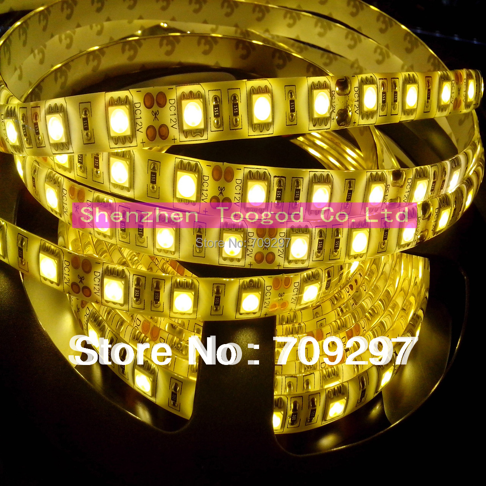 DC 24V 5m 300LED white/warm white/blue/green/red/RGB IP65 waterproof SMD 5050 LED strip light 60LEDs/ m T-889 + free shipping(China (Mainland))