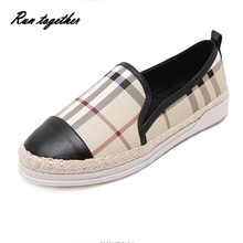 New spring autumn fashion women casual flat shoes round toe straw slip on loafers Fisherman Shoes woman Classic plaid(China (Mainland))