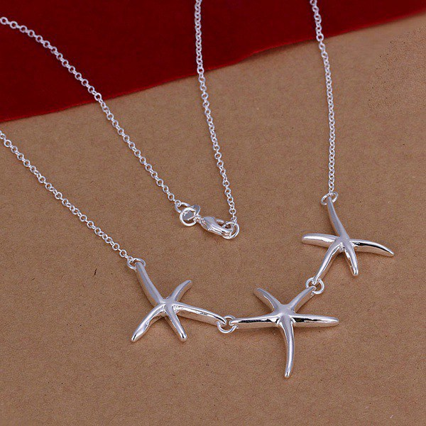 New Listing Hot selling 925 sterling silver women lady beautiful starfish necklace Fashion trends Jewelry Gifts(China (Mainland))
